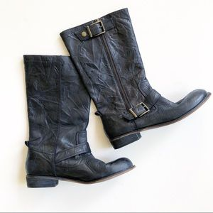 Gianni Bini Black Crinkled Leather Moto Boots
